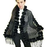 Black Fishnet Knitted Shawl w/REX Rabbit Pom Poms
