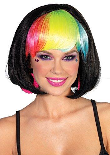 Leg Avenue Pop Rainbow Bang Bob Wig, Black, One Size -