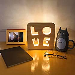 LongYu Night light solid wood carved hollow desktop night light USB charging LEDdecorative lamp animal heart-shaped light energy-saving soft light (PATTERN : Dolphin)