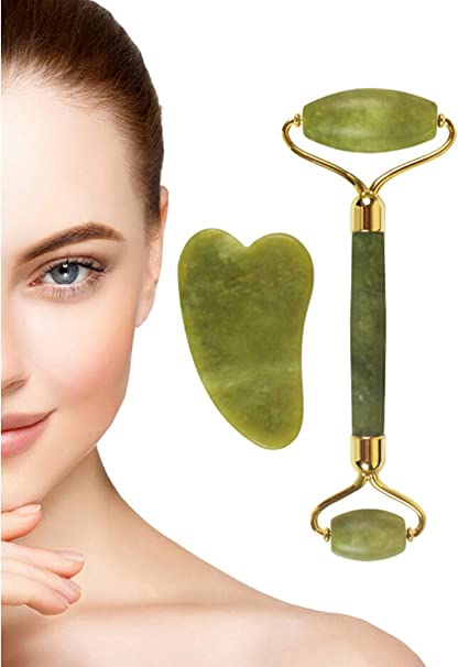 Natural jade stone face massager rollers spa head neck body facial tools top YLW