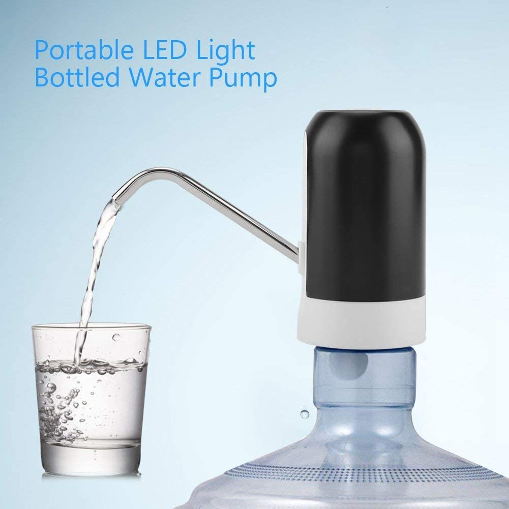 Electric Drinking Water Bottle Pump Portable LED Light Bottled Water Pump USB Rechargeable Dispenser for Home Office Black