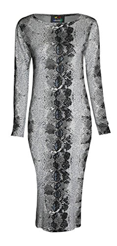 Forever Womens Long Sleeves Printed Bodycon Long Stretchy Midi Dress (Snake Dress Print)