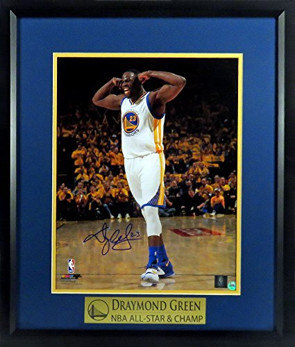 """GS Warriors Draymond Green Autographed """"Muscles"""" 11x14 Photograph Framed Framed by Sports Gallery Authenticated"""