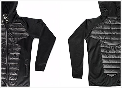 BROKIG Mens Zipped Hooded Down Jacket, Gym Training Lightweight Packable Winter Puffer Coat (X-Large/Tag (XXL), Black)