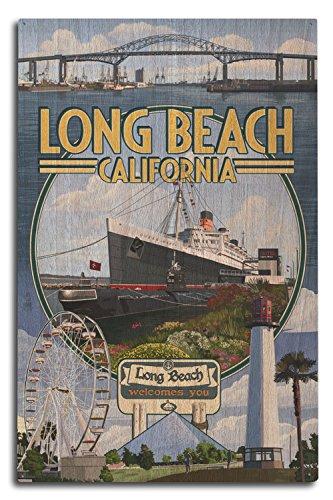 Lantern Press Long Beach, California - Montage 3 (10x15 Wood Wall Sign, Wall Decor Ready to ()