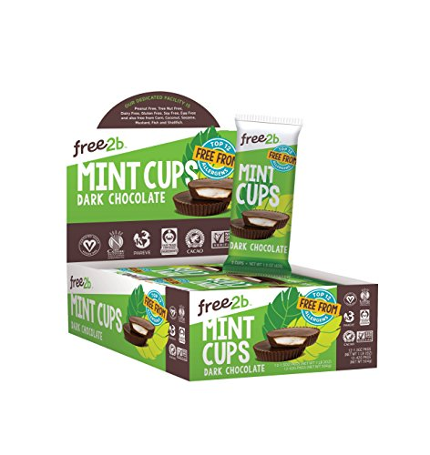 Free2b Foods Dark Chocolate Sun Cups w/Mint Gluten-Free, Dairy-Free, Nut-Free and Soy-Free - 2-Cups (Pack of - Non Dairy Nuts