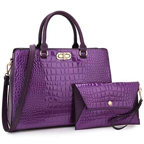 Women Handbags and Purses Ladies Large Shoulder Bags Tote Top Handle Satchel for Women with Wristlet (02 Crocodile- Purple) ()