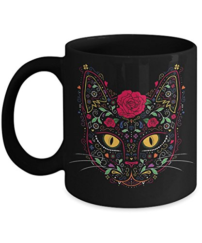 Day Of The Dead Cat Sugar Skull - Funny Happy Halloween Day Coffee Mug Gift Coffee Cup Mugs - Halloween Great Gifts Idea for Men, Women, Kids, Mom, Da