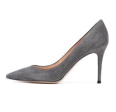7442ebfb21af Soireelady Escarpins Femme Sexy Bout Pointu Office Aspect Daim Chaussures  Talon Haut Aiguille Gris EU35