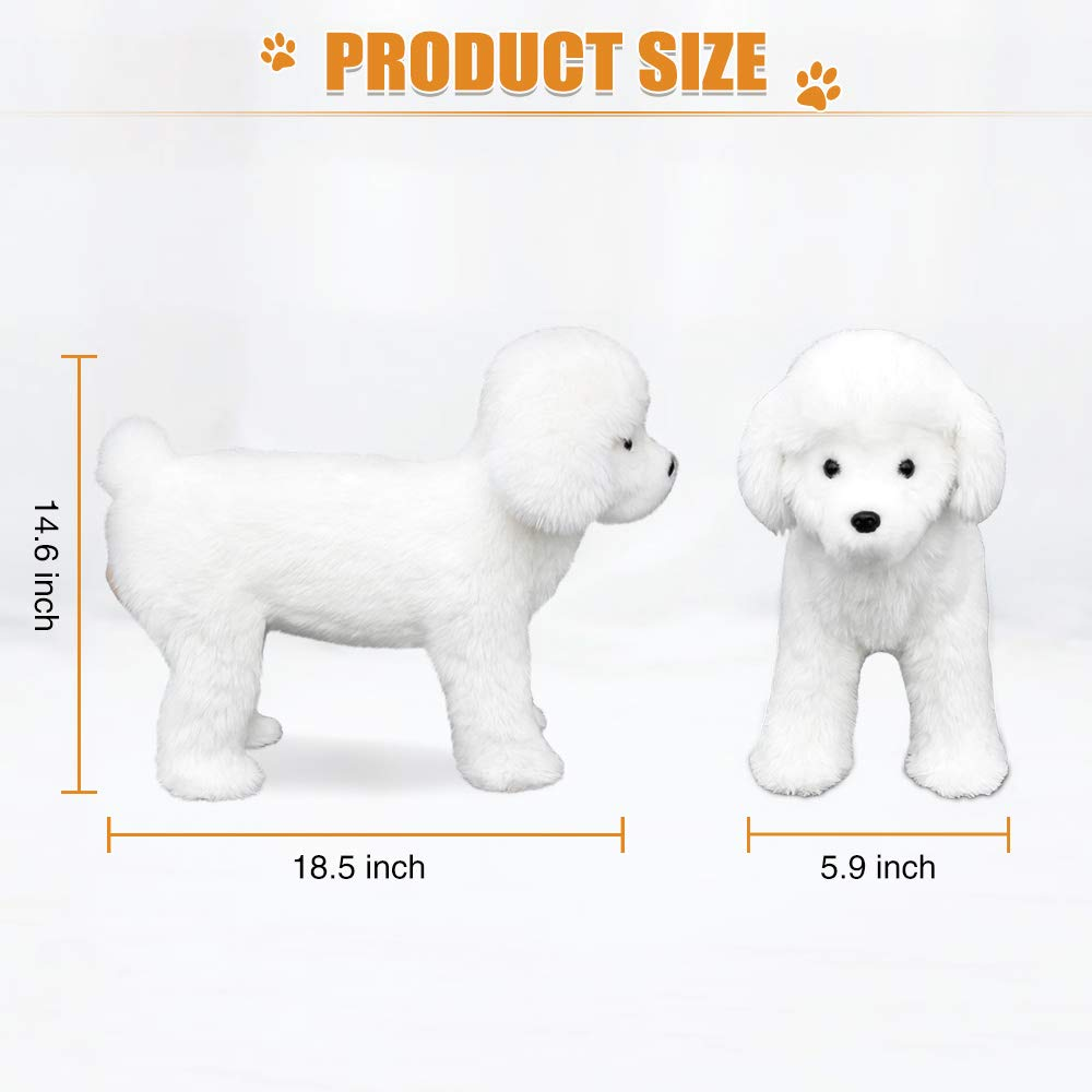 Lifelike Pet Dog Squeaky Toys Realistic Looking Dog Plush Toys Dog Chew Toys Cute Puppy Stuffed Animal Toys for Small Medium Large Dog Pets (White) by Puppy Pleasure