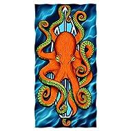 Octopus Surfboard Beach/Shower Towel