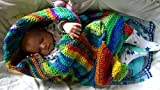 Crochet Kit: Easy Baby Blanket, Self Striping Boho Chic (Winery and Stained Glass)