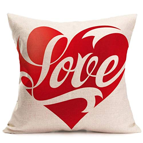 2017 Valentine's Day Pillow Case,Elevin(TM)New Lovers Painting Square Linen Cushion Cover Throw Waist Pillow Case Sofa Bedroom Home Decor Good Valentine's Gift (K)