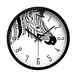 LauderHome 12-Inch Non-Ticking Silent Wall Clock with Modern and Nice Design for Living Room Large Kitchen Wall Clock Battery Operated (Zebra)