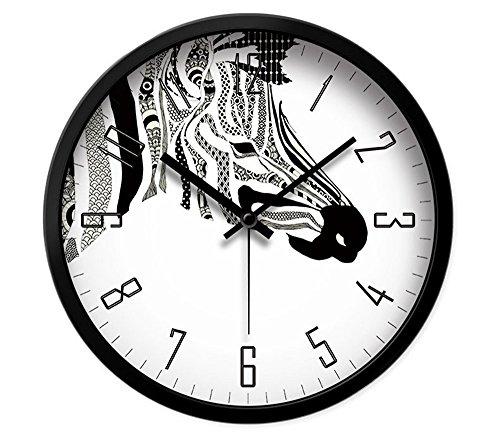 Zebra Wall Metal (LauderHome 12-Inch Non-Ticking Silent Wall Clock Modern Nice Design Living Room Large Kitchen Wall Clock Battery Operated (Zebra))