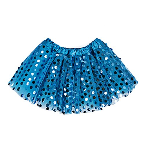 [Kids Girl Glitter Sequins Tutu Skirts 3-Layers Dance Skirts Party Dress by FULL-HOME] (Blue Fairy Glitter Costumes)