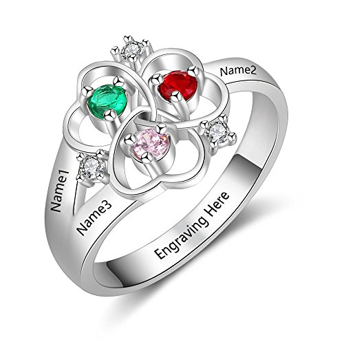 Love Jewelry Personalized Mother Daughter Rings with 3 Simulated Birthstones Names Flower Rings for Women Promise Rings for Her (Silver, 7)