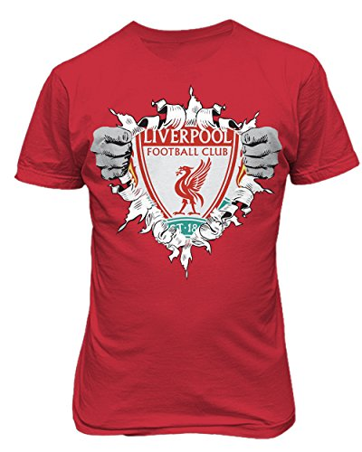 (SMARTZONE Liverpool Football Club Super Hero Logo Soccer Football Futbol T Shirt (Red,4XL))
