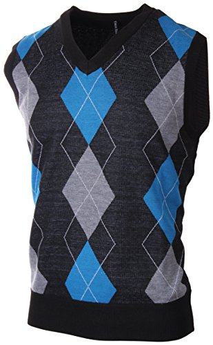 Enimay Mens Argyle/Plain V-Neck Golf Sweater Vest (Many Colors Available) (Argyle Mens Sweater)