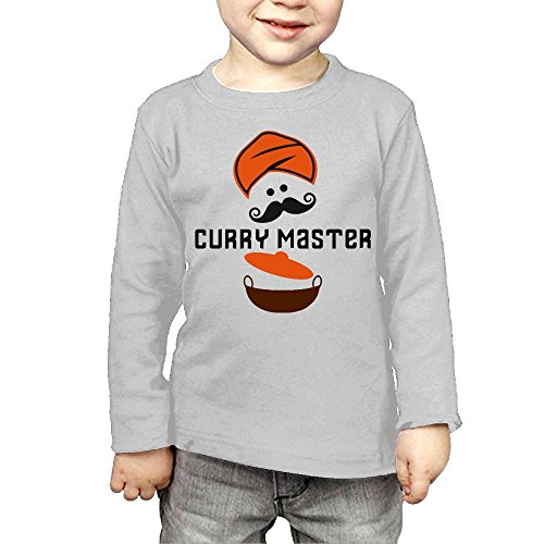 ZheuO Boys & Girls Baby Funny Curry Master Turban Moustache and Balti Pot Soft 100% Cotton T-Shirts Unisex Gray 5-6 Toddler