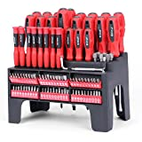HORUSDY 100-Piece Magnetic Screwdriver Set with Plastic Racking - Best Tools for Men Tools Gift