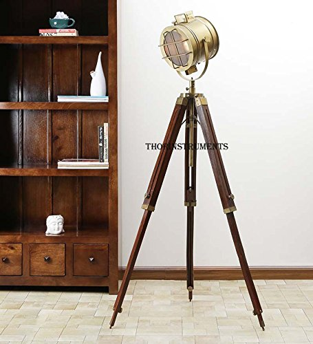 Retro Hollywood Searchlight Floor Lamp Tripod Lighting Spotlight ...