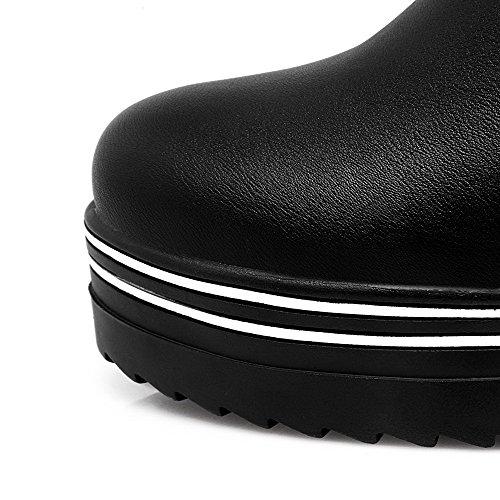 Allhqfashion Dames Pu High-top Stevige Pull-on Hoge Hakken Laarzen Zwart