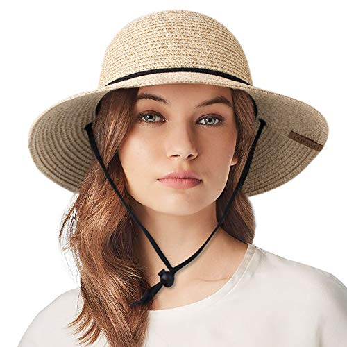 Womens Wide Brim Sun Hat with Wind Lanyard UPF 50 Summer Sun Straw Hats for Women ()