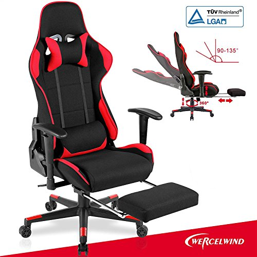 Red Leather Recliners (Mecor Executive Swivel Leather Gaming Chair Adjustable Height Ergonomic Office Computer Chair High-back Racing Style with Lumbar Support Headrest Footrest Red & Black)
