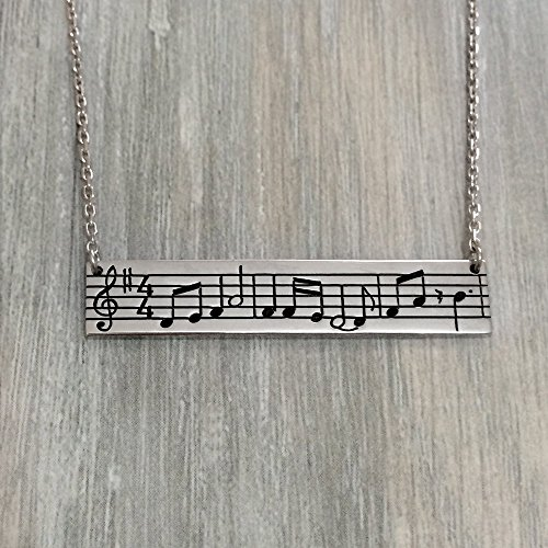 (Music Note Necklace, Personalized Music Note Silver Necklace, Music Necklce)