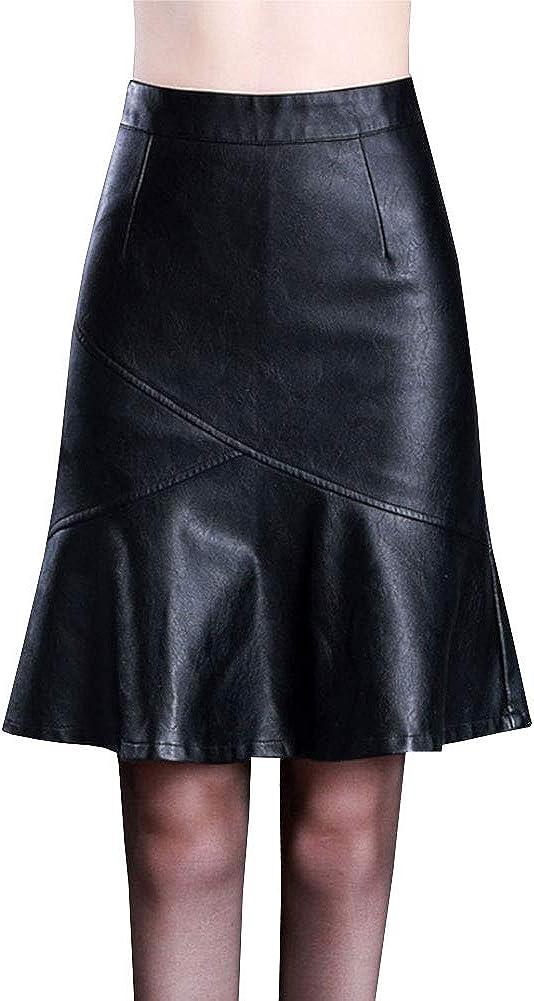 LPATTERN Falda de Piel Sintética con Cremallera Plisada para Mujer Midi Falda de Cuero Tubo con Cintura Alta