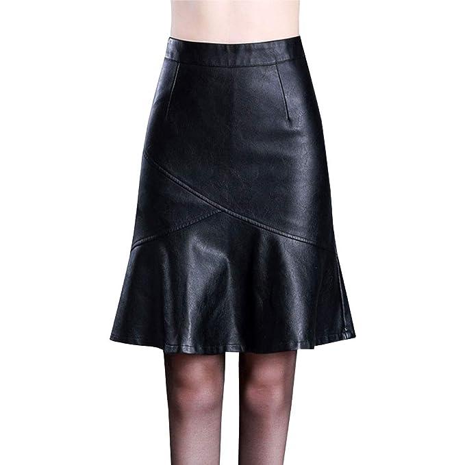 LPATTERN Falda de Piel Sintética con Cremallera Plisada para Mujer Midi Falda de Cuero Tubo con Cintura Alta: Amazon.es: Ropa y accesorios
