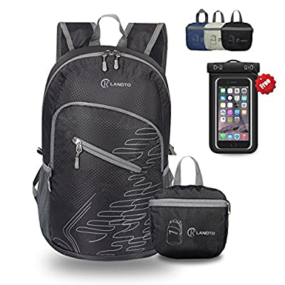 RLANDTO Lightweight Packable Hiking Backpack Water Resistant Foldable Travel Daypack with Waterproof Case
