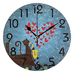 Dozili Fantasy Night Sky Cute Cartoon Cat Playing Saxophone Round Wall Clock Arabic Numerals Design Non Ticking Wall Clock Large for Bedrooms,Living Room,Bathroom