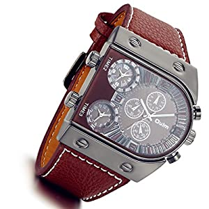 Men's 3 Time-Zone Supported, Japan Quartz, Large Face Military Army Leather Watch