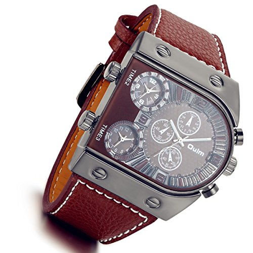 Men's 3 Time-Zone Supported, Japan Quartz, Large Face Military Army Leather Watch(Coffee)