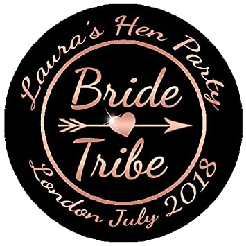 1 sheet of 24 45mm personalised rose gold bride tribe stickers hen