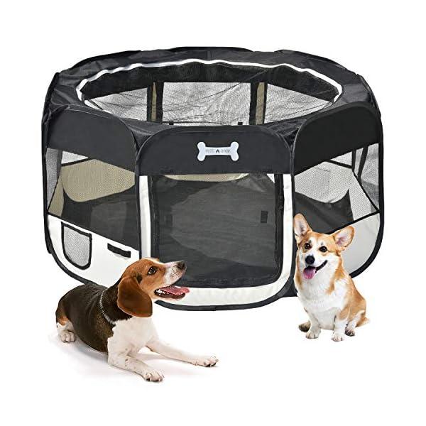 MC-Star-Porttil-Parque-Corral-Oxford-Cachorro-Animales-para-Perros-Gatos-Conejos-y-Pequeo-Animales-125-x-125-x-64-cm-Negro