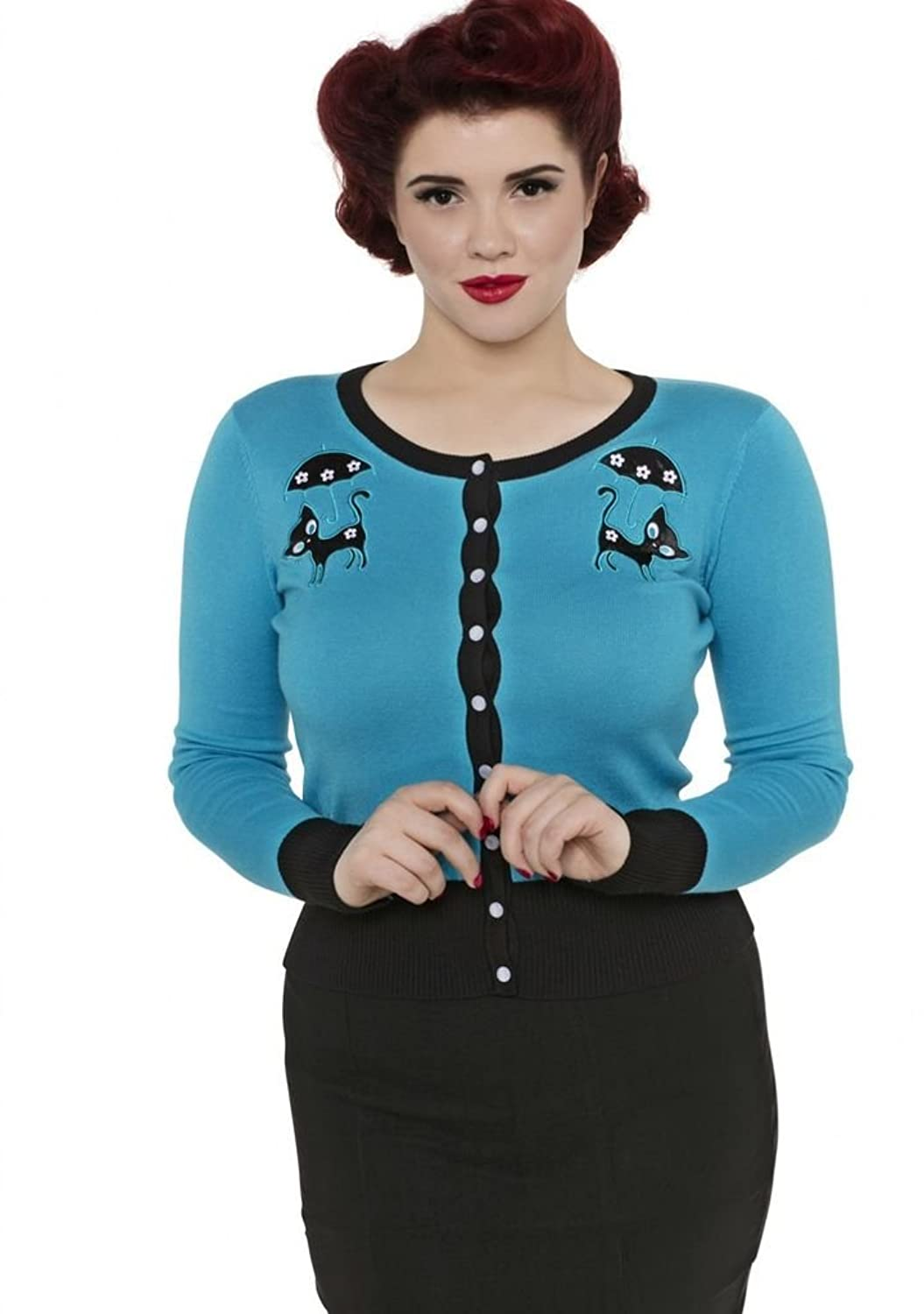 1950s Style Sweaters, Crop Cardigans, Twin Sets Womens Voodoo Vixen Clarissa Cats In The Rain Cardigan Blue $44.99 AT vintagedancer.com