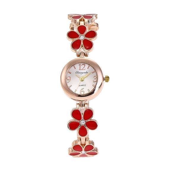 YAZILIND de cuarzo reloj de pulsera de marcación ronda correa de flores bastante para las mujeres (rojo): Amazon.es: Relojes