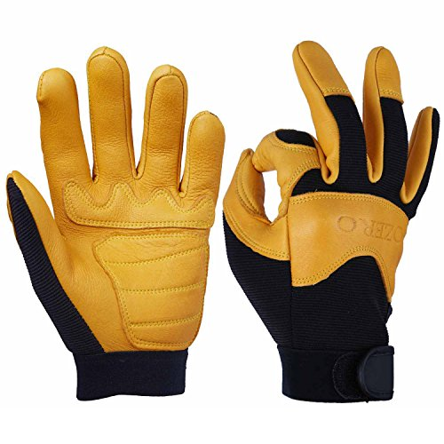 OZERO Cycling Gloves, Grain Deerskin Leather Work Glove for Motorcycle, Driving, Hunting, Climbing - Extremely Soft and Snug Fit - Superior Grip Reinforced Palm Padding - (Gold, Large)