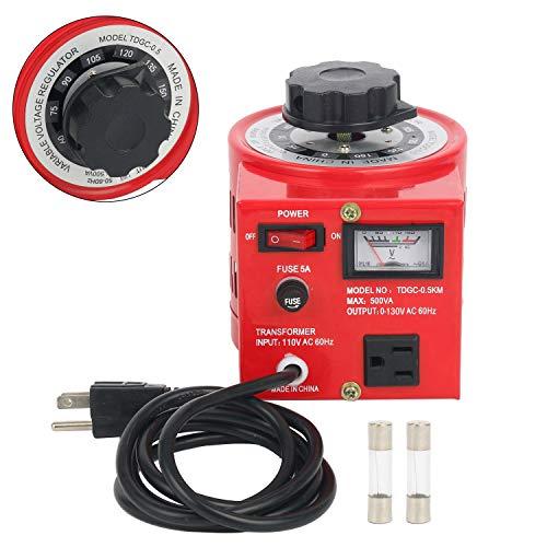 YaeCCC Auto Voltage Transformer AC Variable Voltage Converter Transformer 110VAC Input, 0-130VAC (500W) (Variable Ac Power Supply)