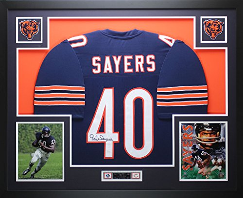Hand Bears Signed (Gale Sayers Autographed Blue Bears Jersey - Beautifully Matted and Framed - Hand Signed By Gale Sayers and Certified Authentic by Auto JSA COA - Includes Certificate of Authenticity)