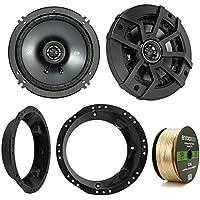 Kicker 43CSC654 600-Watt 6.5 Inch 2-Way Black Car Coaxial Speakers - Bundle Combo With Speaker Mounting Rings For Harley Motorcycles + Enrock 50 Foot 14 Gauge Speaker Wire