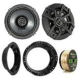 Kicker 43CSC654 600-Watt 6.5'' Inch 2-Way Black Car Coaxial Speakers - Bundle Combo With Speaker Mounting Rings For Harley Motorcycles + Enrock 50 Foot 14 Gauge Speaker Wire