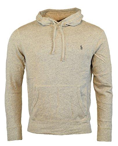 (Polo Ralph Lauren Men's Terry Hooded Pullover Sweatshirt - L - Cream Heather)