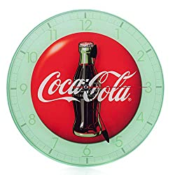 Mark Feldstein Coca Cola Bottle Round Vintage Red Button Logo 12 x 12 Glass Wall Clock