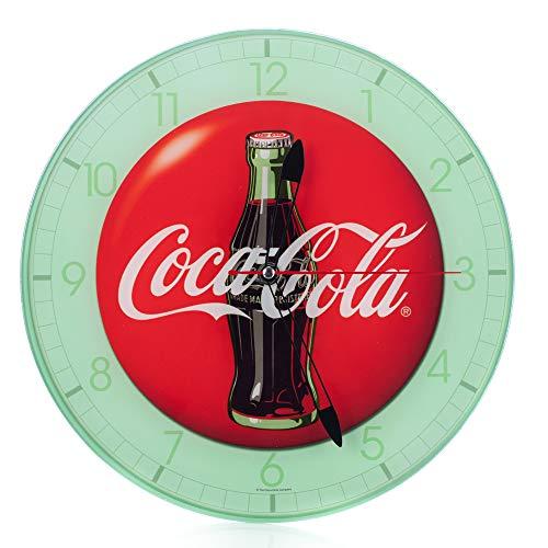 (Mark Feldstein Coca Cola Bottle Round Vintage Red Button Logo 12 x 12 Glass Wall Clock)
