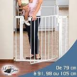 Monsieur Bébé ® Barrière de sécurité extensible de 79cm à 91cm, 98cm ou 105cm - Trois dimensions - Norme NF EN1930 - 2011