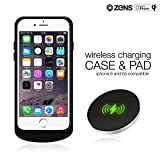 iPhone 6 6s Wireless Qi Charging Receiver Case and Wireless Charger Pad Bundle by ZENS | Effective Wireless Charging for your iPhone with a Slim Design | Qi Certified and Apple MFi Certified